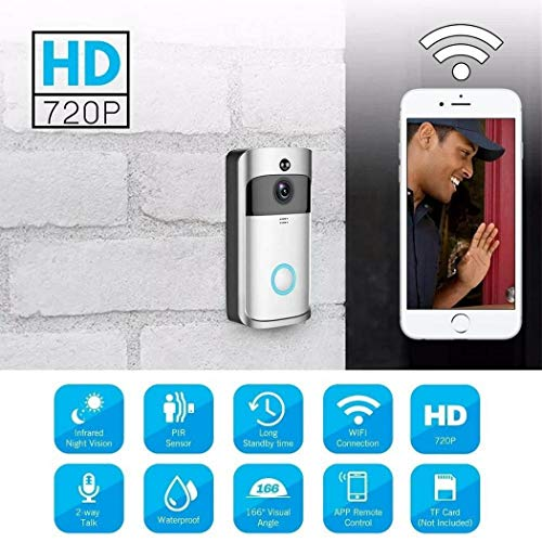 Voiks WiFi Video Doorbell, Waterproof Smart Doorbell 720P WiFi Security Camera with...