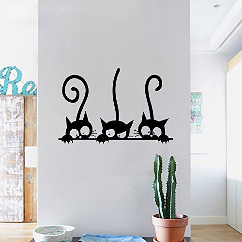 Vovotrade® Trois chats animaux chambre de la maison fenêtre Wall Sticker Mural Decor Decal Amovible Three Cats Animal Household Room Window Wall Sticker Mural Decor Decal Removable (Black)