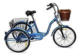 Jorvik 20vintage stile olandese triciclo elettrico in alluminio leggero Petite adulti Trike 250W/36V disponibile in vari colori, Blue