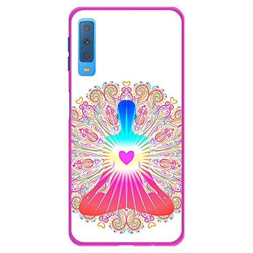 BJJ SHOP Rosa Hülle für [ Samsung Galaxy A7 2018 ], Klar Flexible Silikonhülle, Design: Chakra Kunst, Buddhismus, innerer Frieden