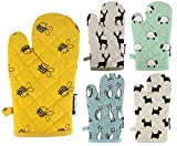 Stag Single Oven Gloves, Luxury Oven Mitts, Heavy Duty Heat Resistant Oven Glove, Novelty Kitchenware, 100% Cotton, Taupe, Stone
