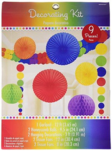 Amscan 243568-90-55 - Hängedekoration Set, Regenbogen, 9-teilig, bunt