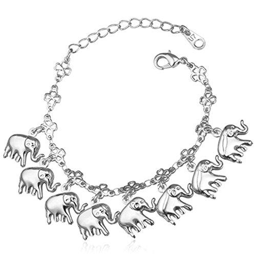 MESE London Elefante Encantos Pulsera Afortunada Platino Plateado 'The Pure Soul' en...