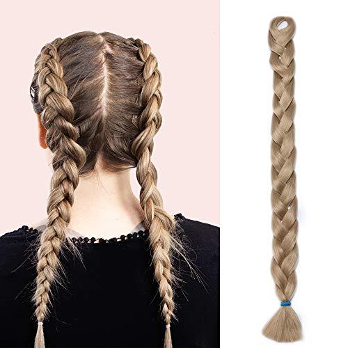 """41""""(104cm) Extensiones de Pelo Sintético para Trenzas Africanas Cabello No Destiñe y Se Ve Natural Crochet Braiding Hair Extension Trenzas Postizas (165g,Rubio Ceniza)"""