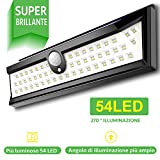 54 LED Luce Solare Esterna Illuminazione Esterna 270 ° Luce solare del Giardino con Sensore di Movimento Solar Lights Garden Impermeabile Esterna Led Piscina IP64 Lampada da Giardino Luci Solari da Esterni di Patio e Camino