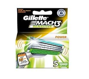 Gillette Mach3 - Power Sensitive - Lames de Rasoir - Pack de 5 (Ancienne Version)