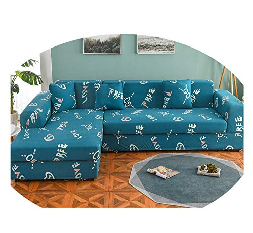 Nordic Sofa Cover Cotton Set Couch Cover Elastic Sofa Cover for Living Room Order 2Pieces to Fit for L-Shape Chaise Longue Sofa Color 15 2seater and 3seater (Denim Recliner Cover)