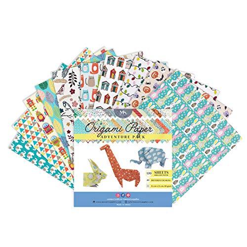 MozArt Supplies Origami Papier Adventure Pack Set - 120 Faltblätter - traditionelles japanisches Bastelpapier mit 40 Mustern, Blumen, Tieren, Azteken - basteln Sie Blumen, Kraniche, Vögel -