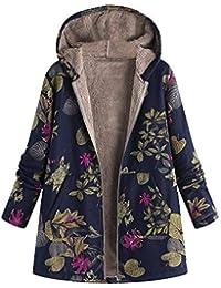 45abc431d BaZhaHei Womens Winter Warm Outwear Floral Print Hooded Jacket Pockets  Vintage Coats Long Sleeve Zip Hooded