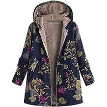 38f47170099b6a Damen Herbst Winter Jacke Parka Mäntel Steppjacke Übergangsjacke mit Kapuze  Hoodie Warm gefüttert Vintage Fleece Dicke