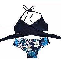 Yaohxu Trajes De Baño De Mujer,Bikini Sexy para Mujeres Conjunto de Trajes de baño Push-Up Sujetador Acolchado Traje de baño Ropa de Playa,Azul,L