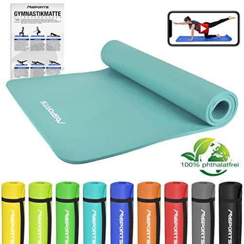 MSPORTS Gymnastikmatte Premium inkl. Übungsposter + Tragegurt + Workout App GRATIS | Hautfreundliche - Phthalatfreie Fitnessmatte - Cyan - 190 x 100 x 1,5 cm - sehr weich - extra dick | Yogamatte
