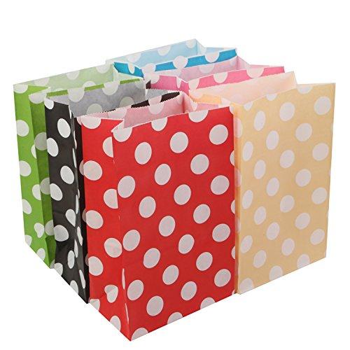 Beyond Dreams 24 Geschenktüten für Gastgeschenk Kindergeburtstag Party | Geschenkpapier Geschenktaschen mit Pünktchen für Geburtstag Mitgebsel Gastgeschenke | Polka Dots Candy Paper Bags Set