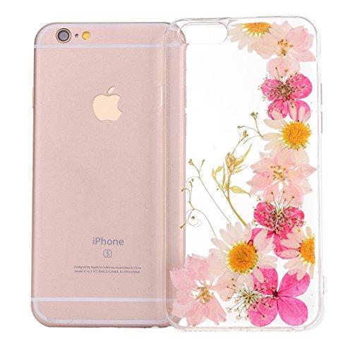 Wkae Epoxy Dripping gepresste echte getrocknete Blume weiche transparente TPU Schutzhülle für iPhone 6s Plus ( SKU : Ip6p2996p ) Ip6p2996b