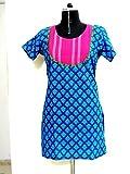 Rahasya Creations Women's Cotton Stitched Kurti (AI1__Blue_Large)