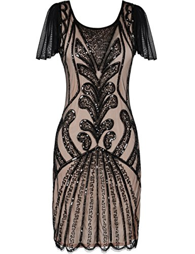 kayamiya 1920er Jahre Flapper Kleider mit Ärmeln Pailletten Art Deco Cocktail Gatsby Kleid 36-38 Schwarz Beige