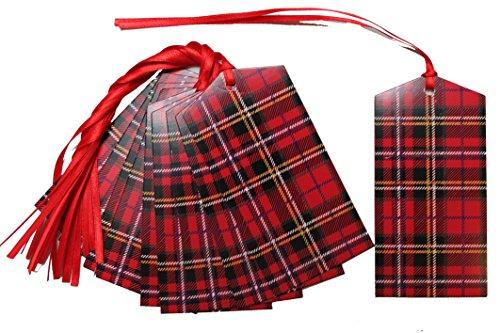 50x rojo etiquetas regalo tartán lazo atar-Cesta