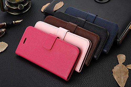 Für VIVO X7 Plus Case Cover Horizontale Flip Stand Weiche echtes Leder Litchi Texture Case mit Halter & Card Cash Slots & Photo Frame ( Color : Brown ) Pink