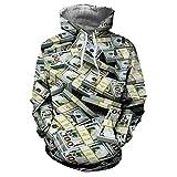 Frashing Unisex Kapuzenpullover 3D Druck Dollar Lover's Kapuzen Sweatjacken Herbst Winter Lässige Hoodie Winterjacke Weihnachten Sweatshirt Pullover Party Kostüm M-XXXL