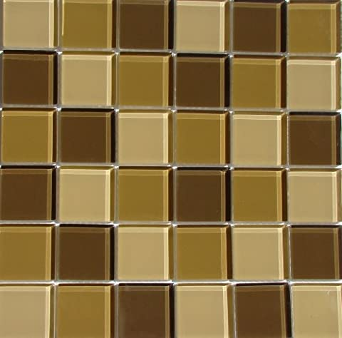 Interceramic INSBG2X2DES Shimmer Blends Glass Mosaic Tile, 2-by-2-Inch Tile on a 12-by-12-Inch Mosaic Mesh, Desert