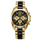 Orologi JSDDE, XL oro UOMO Chrono Business orologio Cronografo Designer viennagold tre finto Cinturino Analog orologio (nero/oro)