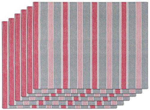 Vent du Sud 6SETAUBGAL Lot de 6 Sets de Table Aubrac Coton Galet 33 x 45 cm