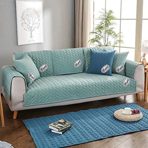 LILILILI Multi-Size Weichen rechteckige Winter Gesteppte möbel beschützer und slipcover für Haustiere, Kinder, Hunde - große & Standard Sofa, Loveseat, Sessel und Stuhl-grün 110x110cm(43x43inch)