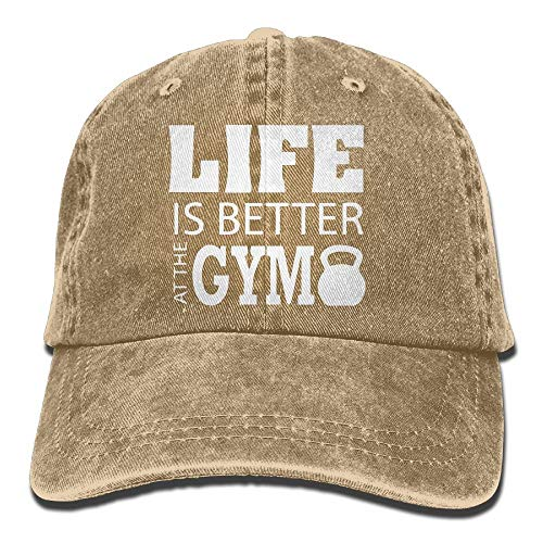 f33afb16b5523c 2018 Adult Fashion Cotton Denim Baseball Cap Life is Better AT The Gym-1  Classic