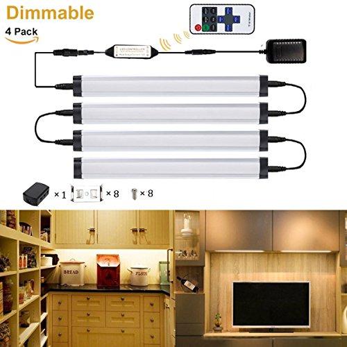 GreenSun LED Lighting 5W 50cm Alu Slim Line Warmweiß 4er Led Unterbauleuchte dimmbar Lichtleiste Strip Möbelleuchte Schranklampe mit 11 Taste Fernbedienung für Küche Möbel Schrank Vitrinenbeleuchtung -