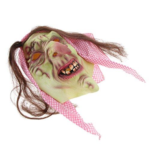 Homyl Halloween Horrormaske Zombiemaske Clown Latexmaske Hexe Maske für Damen und Herren, Kostümstütze Halloween Props zum Kostümparty Cosplay Party Spukhäuser und Bar - Alte Hexe