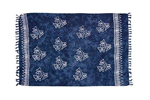 MANUMAR Damen Pareo blickdicht, Sarong Strandtuch in mitternachtsblau mit Schmetterling Motiv, XL Größe 175x115cm, Handtuch Sommer Kleid im Hippie Look, für Sauna Hamam Lunghi Bikini