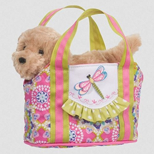 Dragonfly Sassy Pet Sak Tote with Removable Golden Retriever Plush Toy by Douglas Cuddle Toys