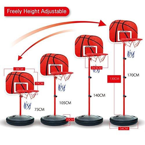 Canestro basket, wolfbush pallacanestro stand bambini regolabili cerchio di pallacanestro di pallacanestro portatili boards toy set 73-170cm con 2pcs basketballs - nero + rosso