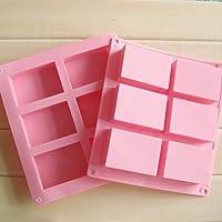 Kesariyaji Silicon Soap Mould for Soap Making 6 Rectangular Shape Cavity - Set of 1 (Assorted Colour)