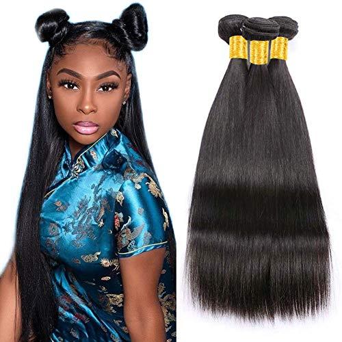 Musi Brazilian Virgin Straight Hair 3 Bundles Human Hair 100% Unverarbeitete Reine Brasilianische Gerade Menschenhaar Extensions Glattes Haar Bundles 300g Natural Black 18 20 22 INCH - Curly Menschliches Weben