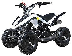 Actionbikes Motors Kinder Miniquad ATV Racer 49 cc - Scheibenbremsen - Luftbereifung - Drosselbar - Fernbedienung (Weiß Schwarz)