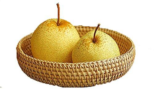 Regalo decorativo intrecciato a mano piccola rotonda cesti di vimini rattan intrecciato fruit basket vassoio portaoggetti organizer da cucina artigianale ciotola per servire frutta porta rete da regalo per donne 18 cm 1