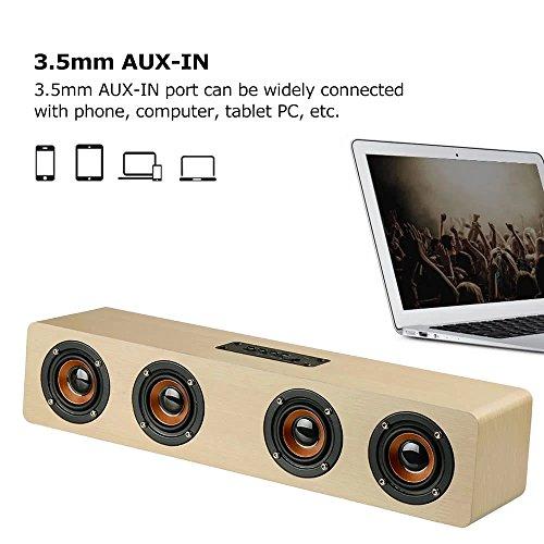 TechCode Drahtlose Bluetooth Lautsprecher, Wireless Bluetooth Speakers TF Karte AUX Subwoofer Tragbarer Lautsprecher für TV Heimkino 3D Holz Sound Bar (W8YX-Gelb)