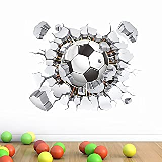 Soccer Ball Football Broken 3D Decorative Peel Vinyl Wall Stickers Wall Decals Removable Decors for Living Room Kids Room Baby Nursery Boys Bedroom by AWAKINK