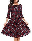 ACEVOG Damen Elegant Retro Vintage Rockabilly Kleid Abendkleid Cocktailkleid Partykleid 3/4 Arm Wadenlang Kariertes Kleid mit Schleife Herbst Winter, Weinrot, Gr. M