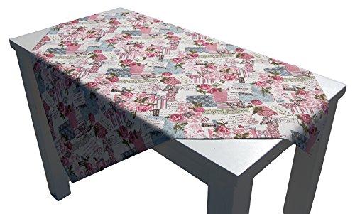 Retro Print Rose Kissenhülle u. Tischwäsche Postcardprint Vintage Look reine Baumwolle altrose (Mitteldecke 85 x 85 cm) (Shabby Chic Kissenbezug Shabby)