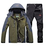 Hombre de Trekking Impermeable Deportivos Transpirable Pantalones Chaqueta de Esquí Impermeable Chaqueta de Nieve Excursionismo Conjunto Verde del ejército B M