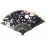 AUM- Lace Trim Colorful, Flower Floral Pattern, Hand Held Folding Plastic Japanese Silk Hand Fan (Black-L7).100% Hand Crafted, Gift Fan For Girls, Women, Wedding Party. Buy 100% Original Imported Hand Fan From Aum Impex Only