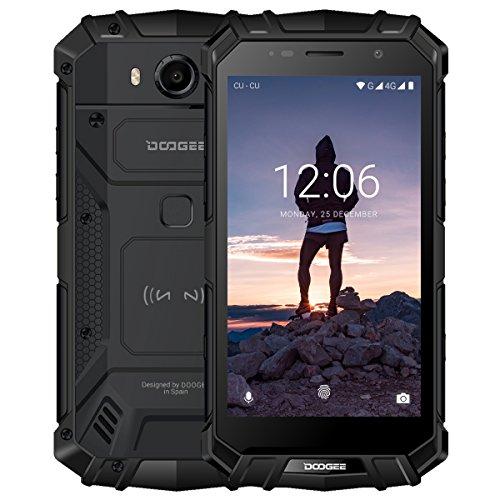 Outdoor Handy, DOOGEE S60 4G Dual SIM Smartphone Ohne Vertrag Android 7.0, 5,2 Zoll FHD Display mit 6GB / 64GB, 21 MP Hauptkamera, 5580mAh 12V2A Fingerabdruck NFC IP68 Wasserdichte Smartphone -Schwarz
