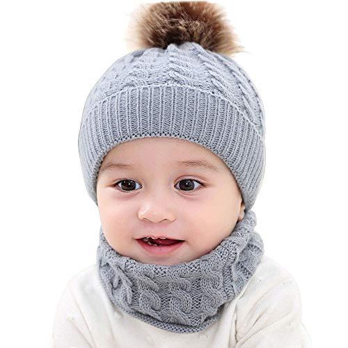 c56e1406895c5 Chapeau Enfant ADESHOP Mode Enfant GarçOn Fille Hiver Chaud Bonnet Tricoté  Bonnet Beanie Mignon Boule De