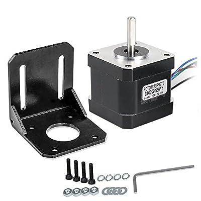 Stepper Motor, DorisDirect Stepper Motor Nema 17 Bipolar 100mm 64oz.in(45Ncm) 2A 4 Lead 3D Printer Hobby CNC w/1m Cable & Connector +Nema 17 Mounting Brackets