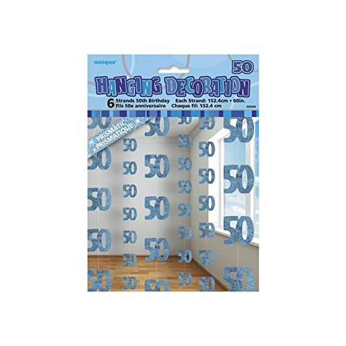 Preisvergleich Produktbild Blau Glitz Strang Dekoration–Alter 50