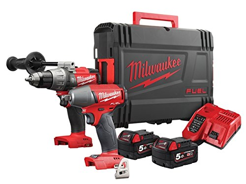 Milwaukee M18FPP2B-502X Fuel Twin Pack FPD Percussion Drill, M18 FIWF12 Impact Wrench, 2 x 5.0ah Batteries, Fast Charger, dynacase