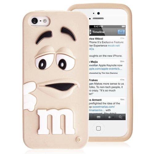 Chocolat en Silicone Coque arrière pour iPhone 5& 5S-Jaune Blanc