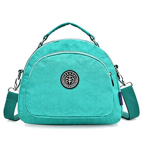 Suzone da donna in nylon borsa messenger a tracolla zainetto sportivo Pack Leisure borsa a tracolla zaino, donna, Light Blue Green
